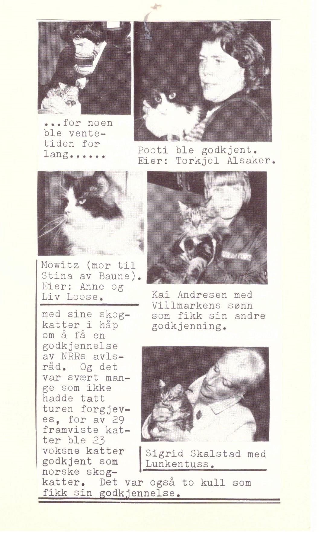 Godkendelse af skovkatte. Ca. 1978