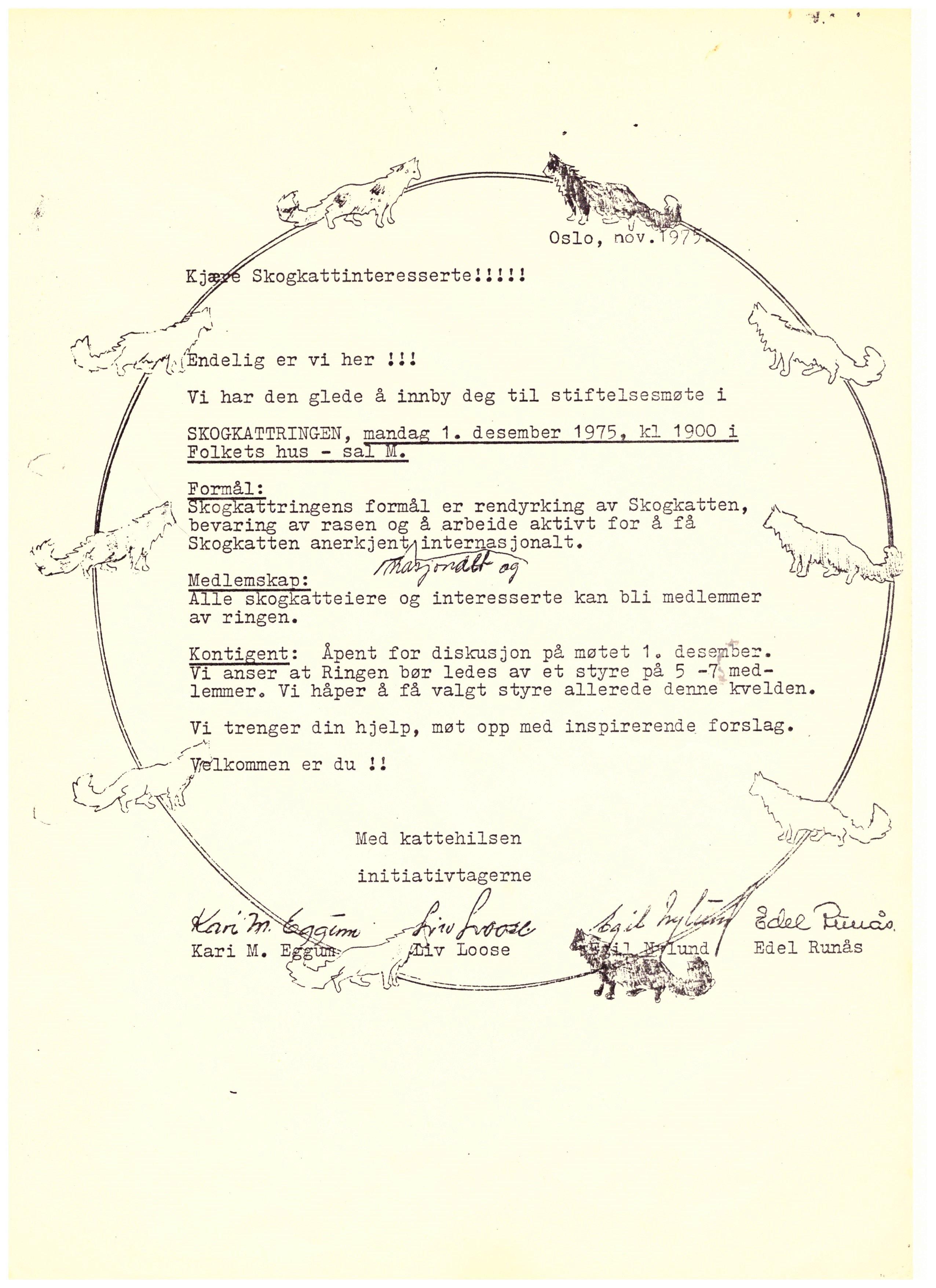 Indkaldelse til stiftende generalforsamling i Oslo 1975
